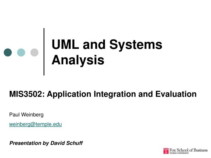 uml and systems analysis n.