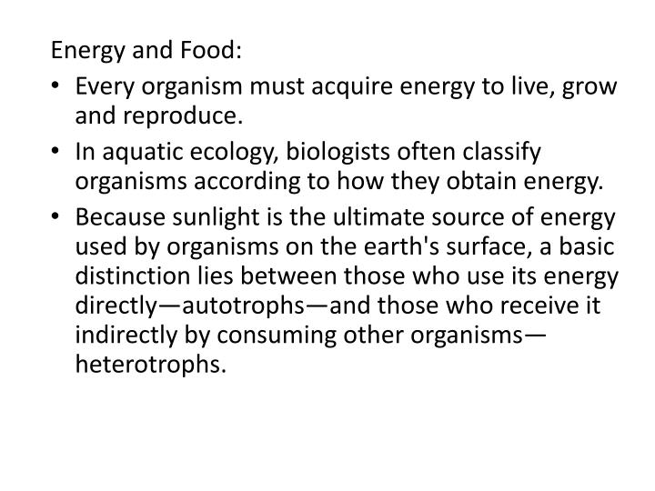 Energy and Food: