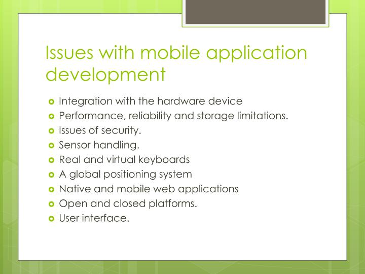 Issues with mobile application development
