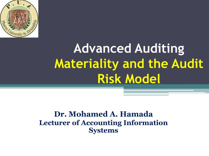 advanced auditing materiality and the audit risk model n.