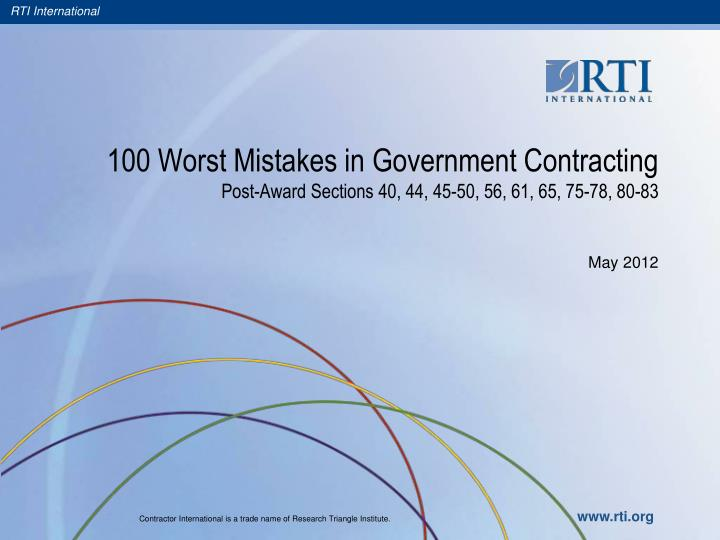 100 worst mistakes in government contracting post award sections 40 44 45 50 56 61 65 75 78 80 83 n.