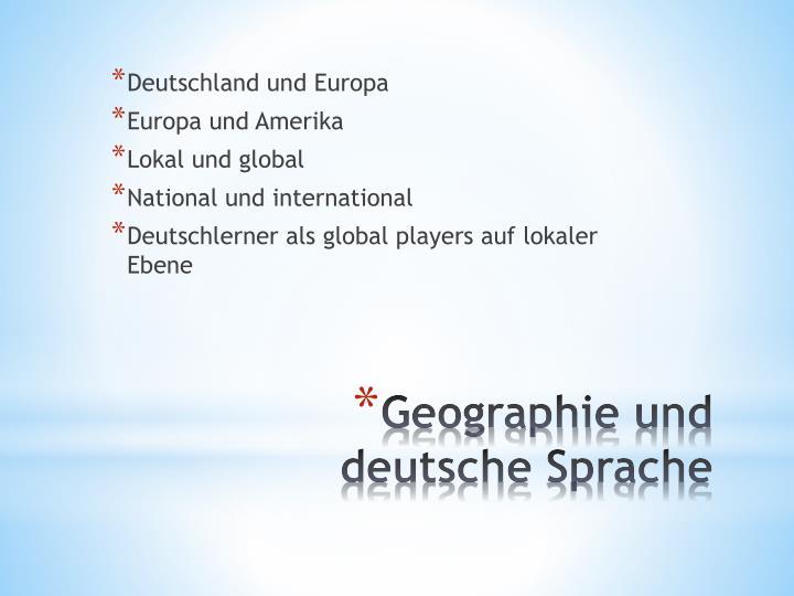 Geographie und deutsche sprache