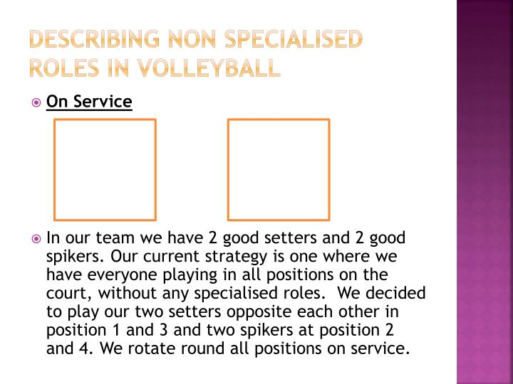 Describing non specialised roles in volleyball