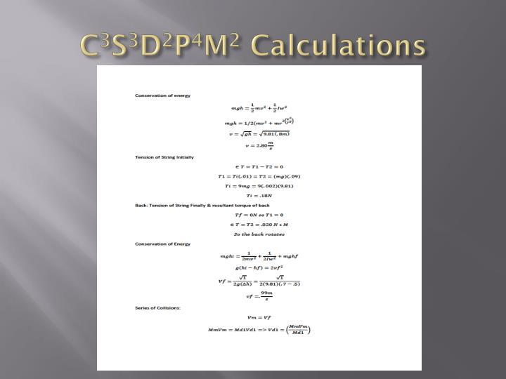 C 3 s 3 d 2 p 4 m 2 calculations