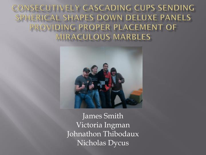 Consecutively Cascading Cups sending spherical shapes down deluxe Panels providing proper placement ...
