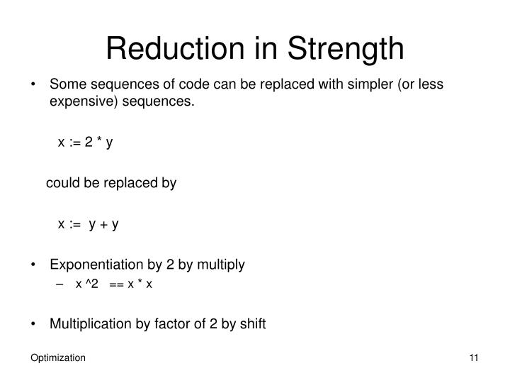Reduction in Strength