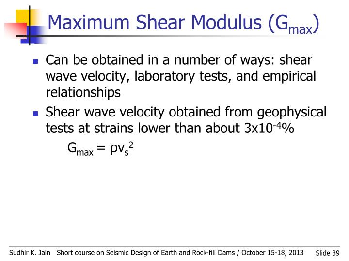 Maximum Shear Modulus (