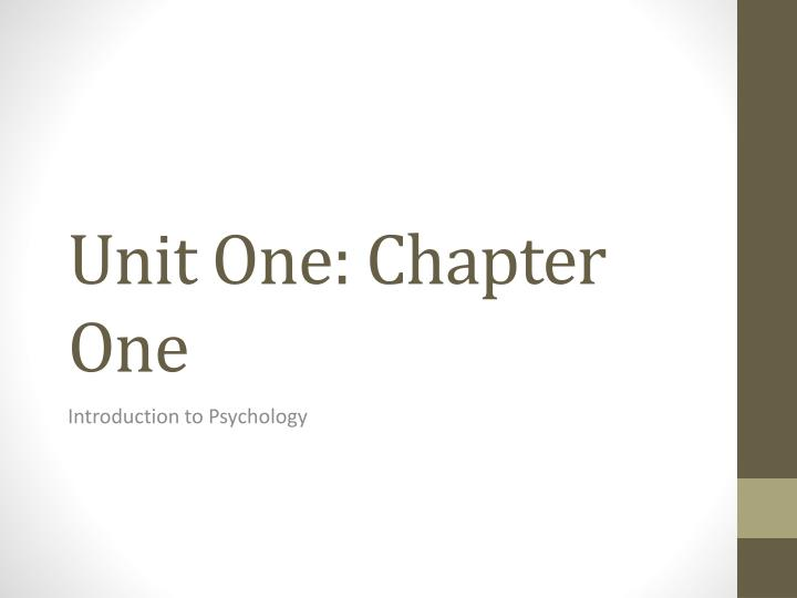 unit one chapter one n.