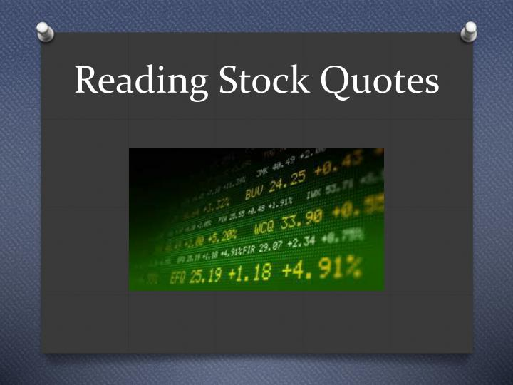 Reading Stock Quotes