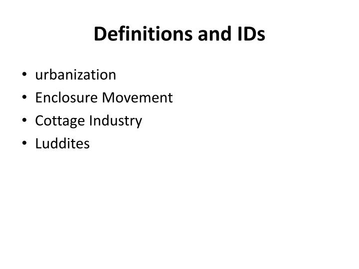 definitions and ids n.