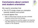 conclusions about content and student orientation