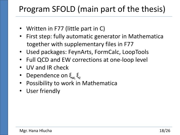 Program SFOLD (main part of the thesis)