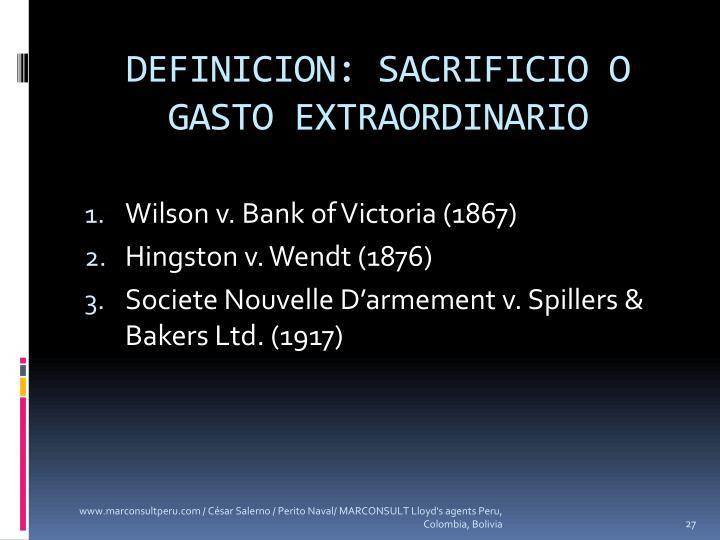 DEFINICION: SACRIFICIO O GASTO EXTRAORDINARIO
