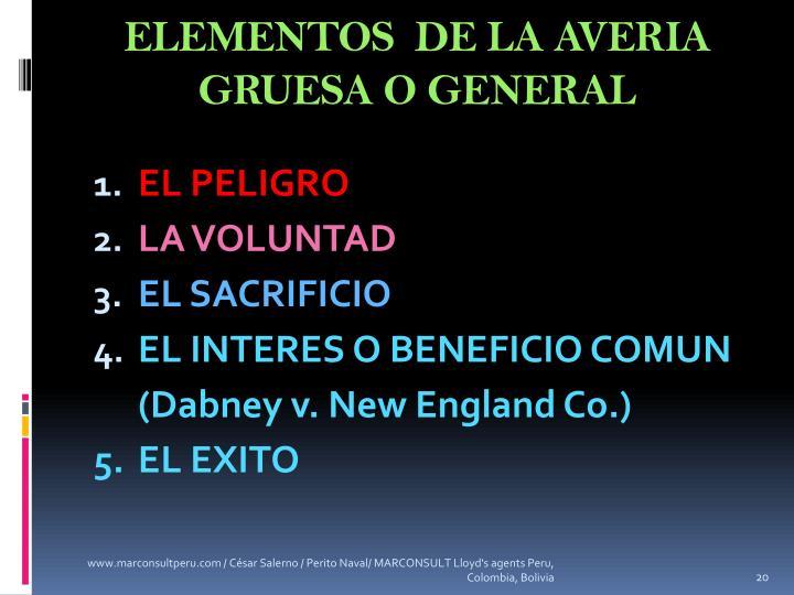 ELEMENTOS  DE LA AVERIA GRUESA O GENERAL
