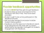 provide feedback opportunities