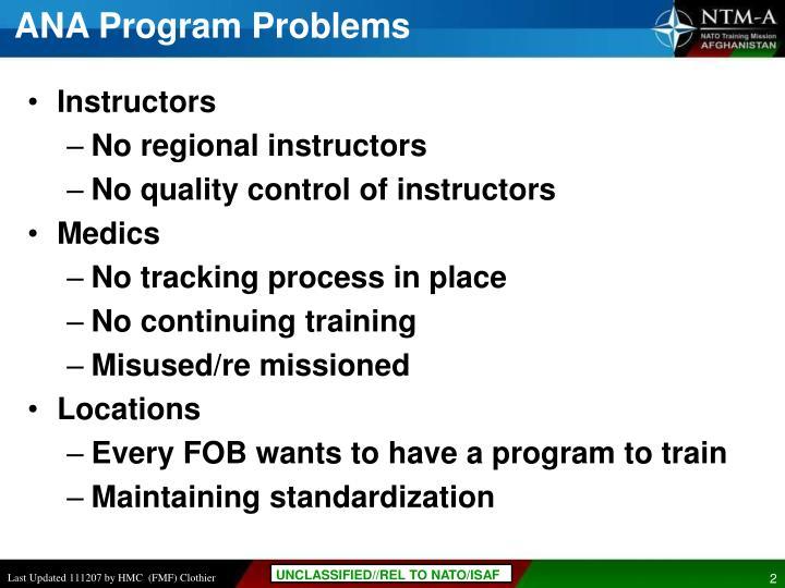 Ana program problems