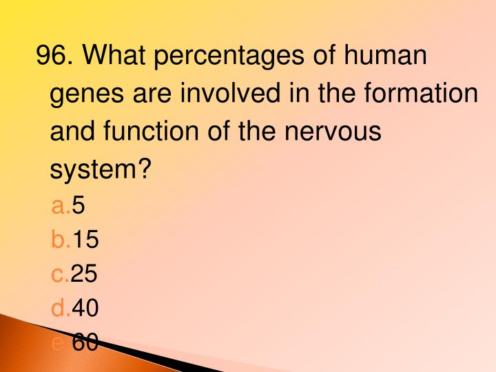 96. What percentages of human genes are involved in the formation and function of the nervous system?
