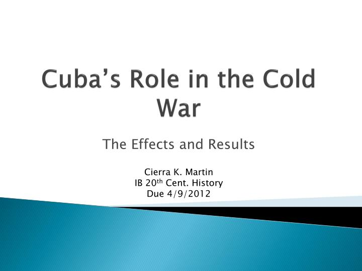 cuba s role in the cold war n.