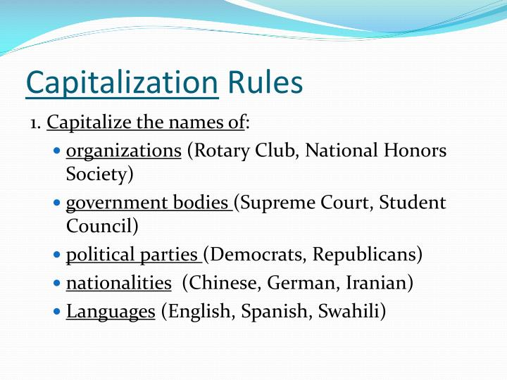 capitalization rules n.