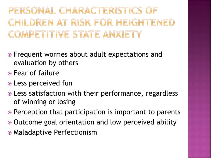 Personal Characteristics of Children at Risk for Heightened