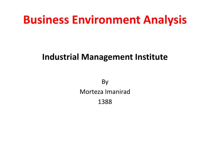 business environment analysis n.