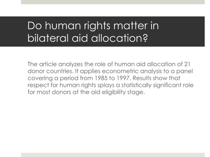 do human rights matter in bilateral aid allocation n.
