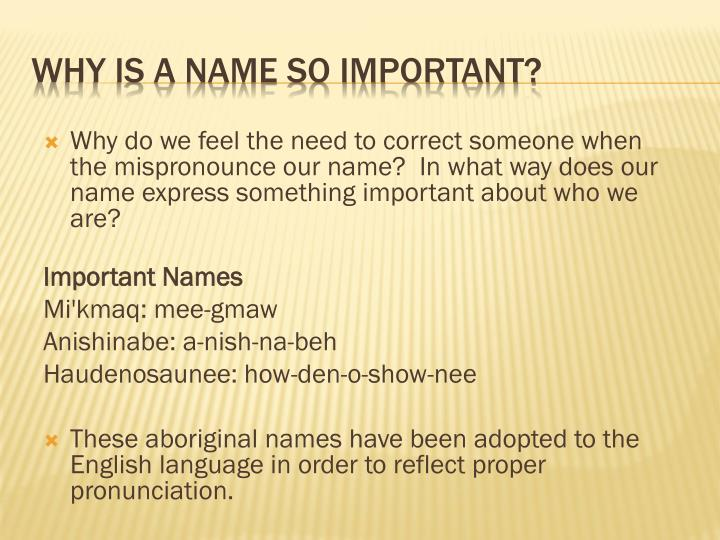 why is a name so important n.