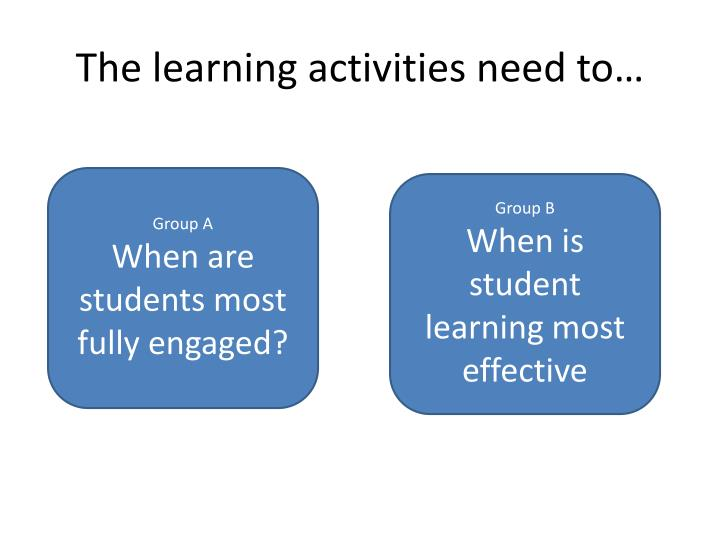 The learning activities need to…