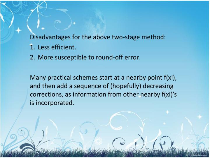Disadvantages for the above two-stage method: