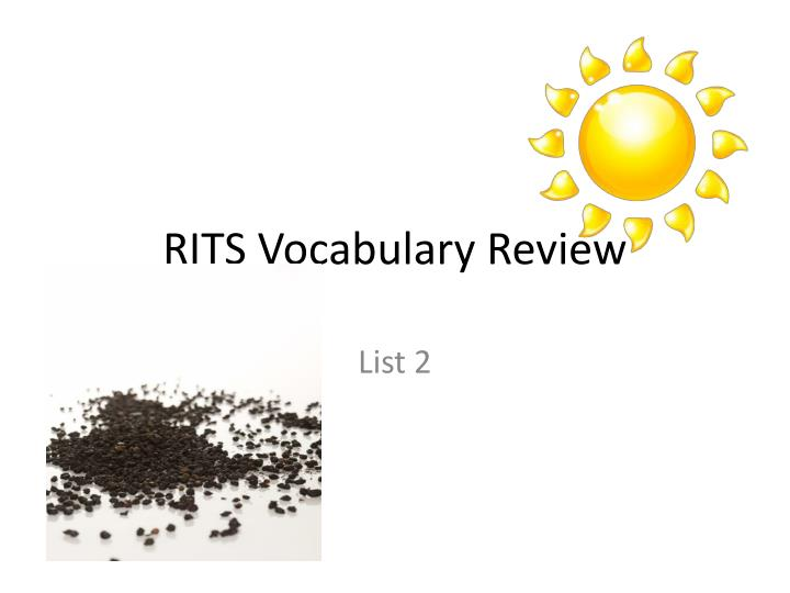 rits vocabulary review n.