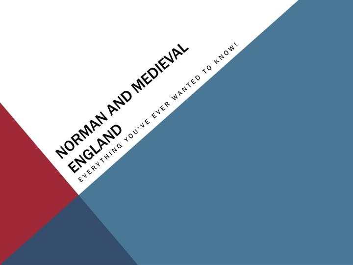norman and medieval england n.
