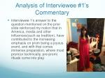 analysis of interviewee 1 s commentary