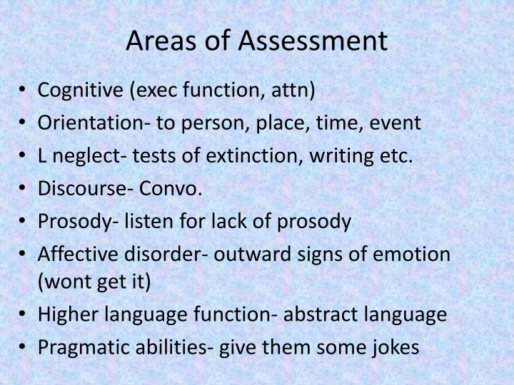 Areas of Assessment
