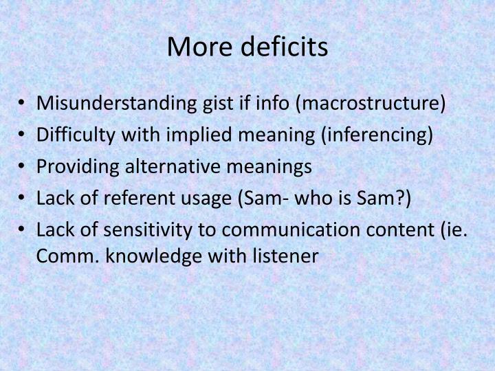 More deficits
