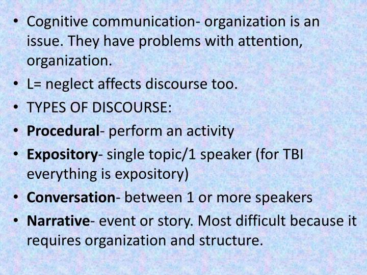 Cognitive communication- organization is an issue. They have problems with attention, organization.