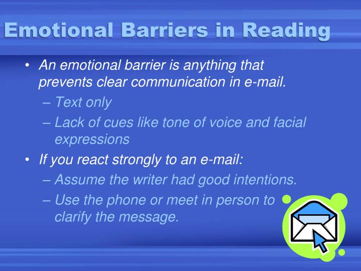 Emotional barriers in reading
