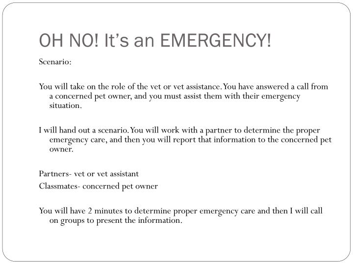 OH NO! It's an EMERGENCY!