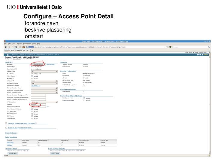 Configure – Access Point Detail