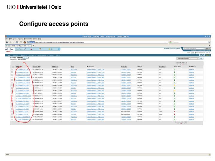 Configure access points