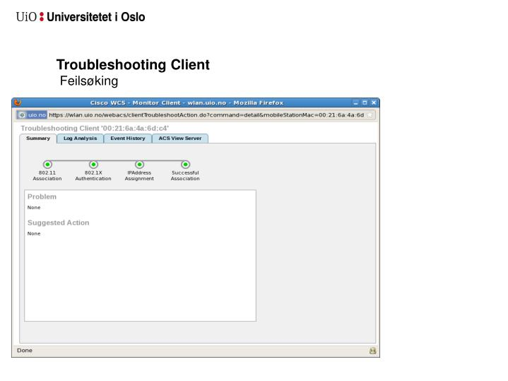 Troubleshooting Client