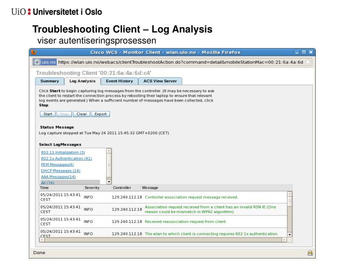 Troubleshooting Client – Log Analysis