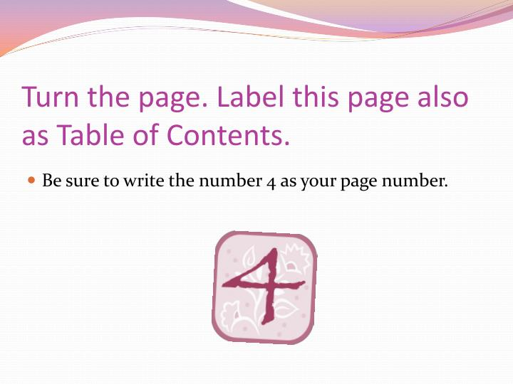 Turn the page. Label this page also as Table of Contents.