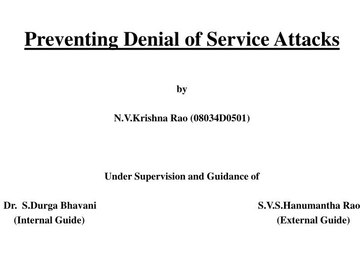 preventing denial of service attacks n.