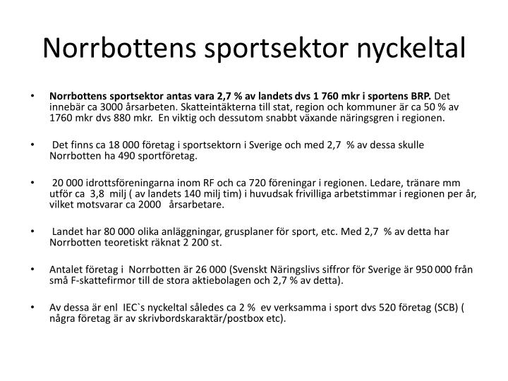 Norrbottens sportsektor nyckeltal
