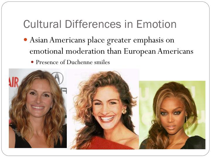 different cultures and emotions Within- and between-nations differences in norms for experiencing emotions were analyzed in a cross-cultural study with 1,846 respondents from 2.