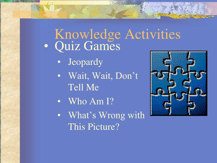 Knowledge Activities