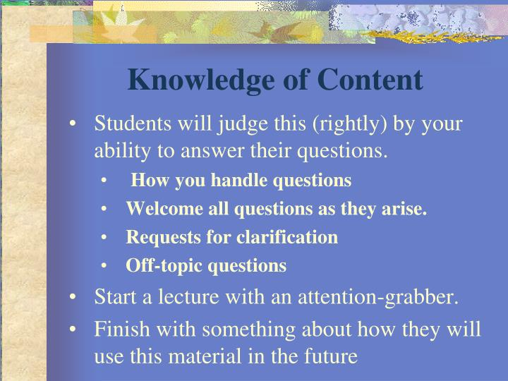 Knowledge of Content