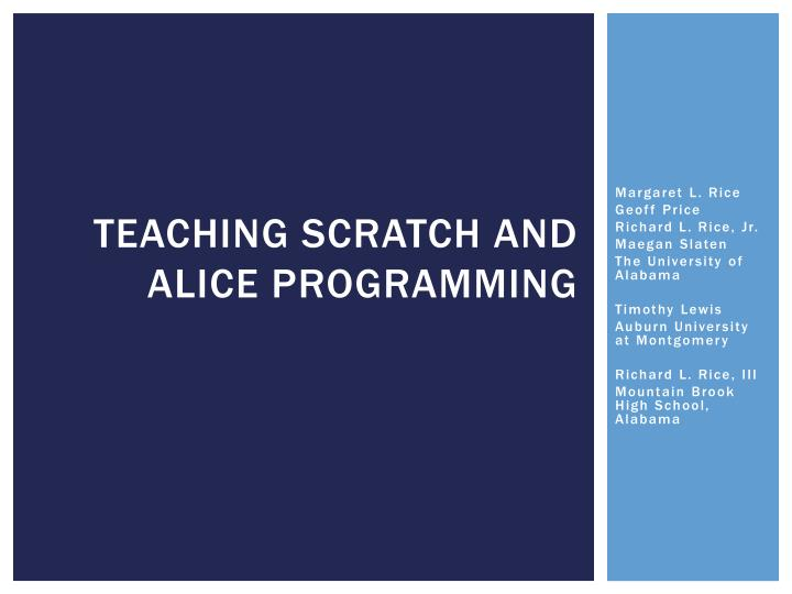 teaching scratch and alice programming n.