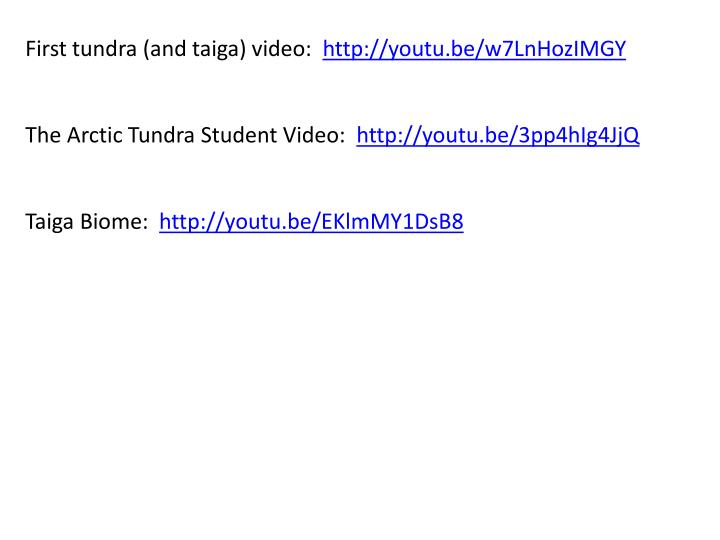 First tundra (