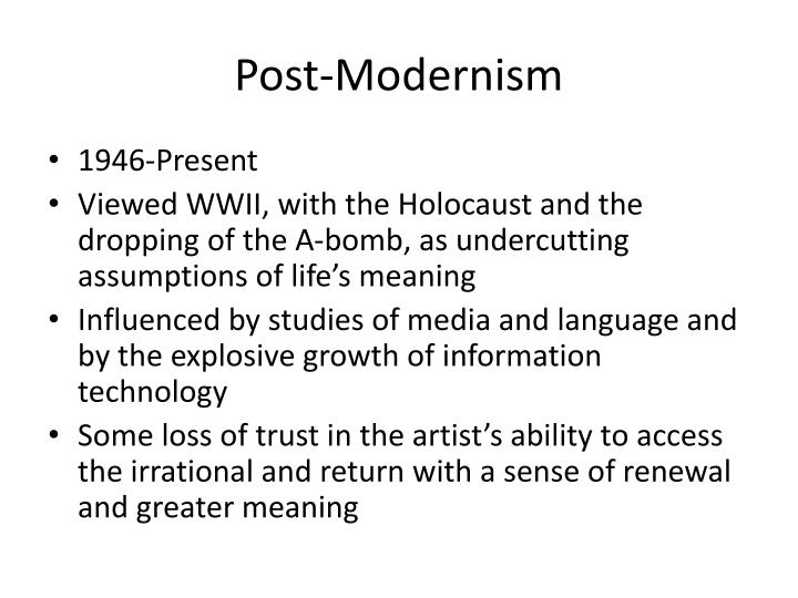 differentiate modernism from post modernism Modernism (or enlightenment humanism) postmodernism: reason and science provide accurate, objective, reliable foundation of knowledge reason and science are ideologies in the nietzschean or marxist sense: simply myths created by man.